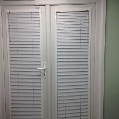 Office French Doors Fitted With Our 25mm Perfect Fit Venetians